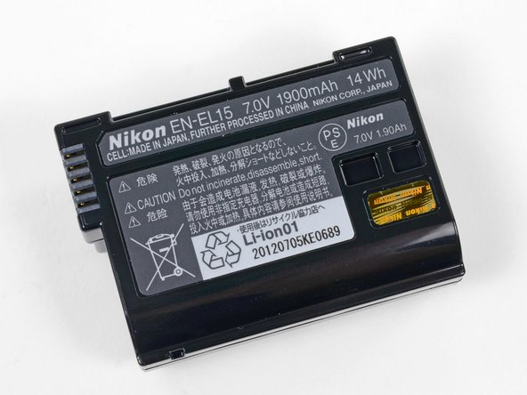 Image 3/3: Nikon claims that the 7.0V-1900mAh-14Wh Lithium-ion battery can take 900 shots per charge, an understandable downgrade from the 1,050 of the D7000, most likely due to the improved internals.