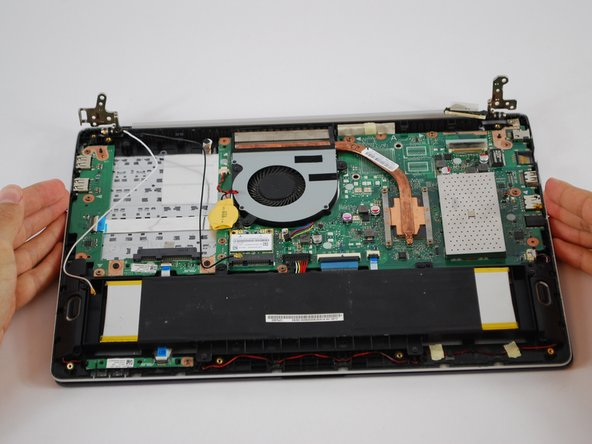 Make sure when removing screen cover lift bottom of the laptop to about a 45° degree angle when removing it.
