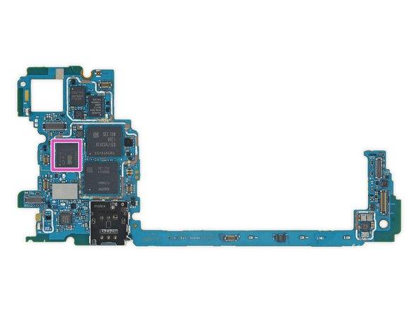 Samsung K3UH5H5 4 GB LPDDR4 mobile DRAM, layered over a Qualcomm Snapdragon 835