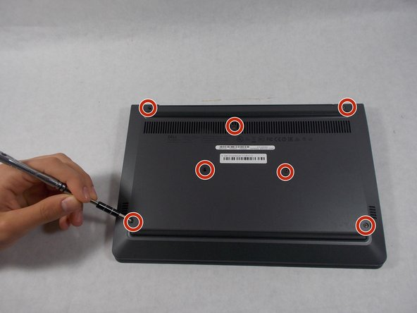 Remove all seven 8 mm Philips #0 screws from the back case with a Philips #0 screwdriver.