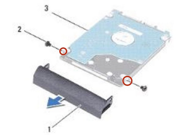 Align the screw holes on the NEW hard-drive bezel with the screw holes on the hard drive and replace the two screws.