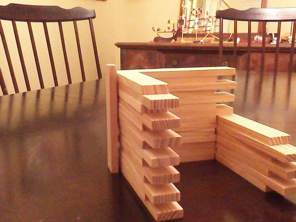 Stack a bit more..... these should be equal to the length of one piece on its end.