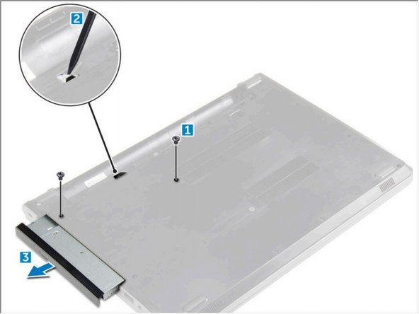 Remove the screw that secures the optical drive to the computer [1].