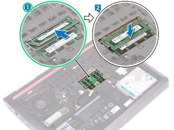 Align the notch on the memory module with the tab on the memory-module slot and slide it firmly into the slot at an angle.