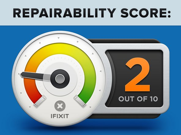 "The MacBook Pro 13"" with Two Thunderbolt Ports earns a 2 out of 10 on our repairability scale (10 is the easiest to repair):"