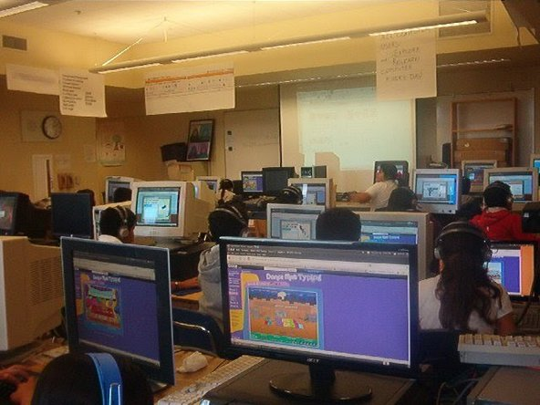 School computer lab made of recycled computers