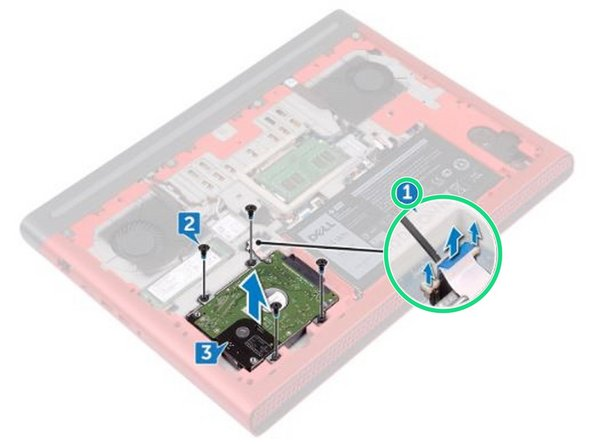 Using a plastic scribe, lift the latch and use the pull tab to disconnect the hard-drive cable from the system board.