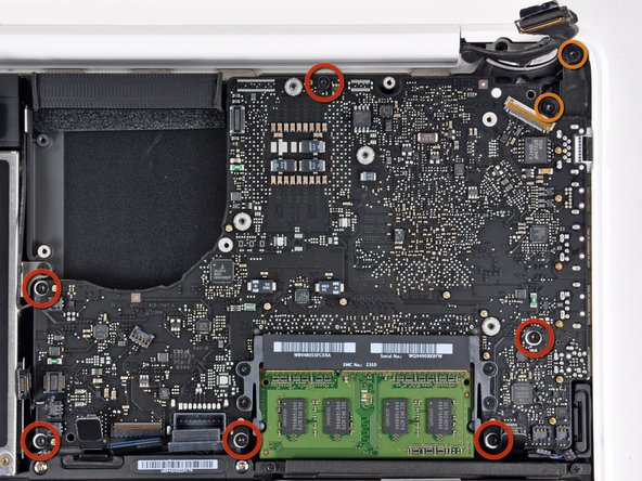 Remove the six 4.1 to 4.4 mm T6 Torx screws securing the logic board to the upper case.