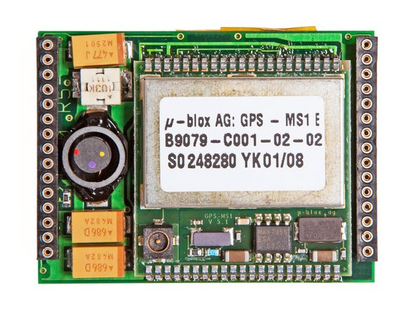 The module providing the GPS signal processing on this device is a µ-blox GPS-MS1 that's sort of ancient in the realm of modern electronics.