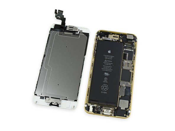 Image 1/1: The internal layout of the iPhone 6 Plus appears to be similar to the 5s, but we immediately notice the sheer size of the battery. Based on its volume alone, we suspect the iPhone 6 Plus will be no slouch when it comes to battery life.