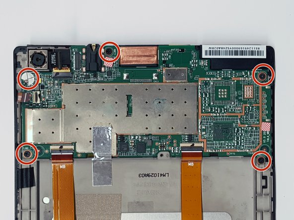 Remove each of the five M1.6 x 2mm screws to free the motherboard from the device.