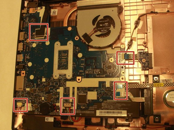 Before removing motherboard, be sure to disconnect the fan tab on the bottom.