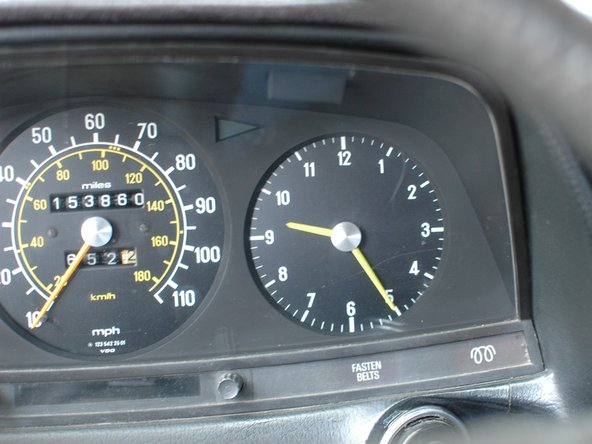 Check that the clock is working. On later models years than the car used in this guide the clock will be smaller and inset beneath the tachometer.