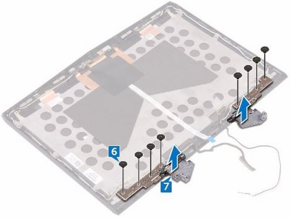 Replace the eight screws (M2.5x2.0L) that secure the display hinges to the display back-cover and antenna assembly.
