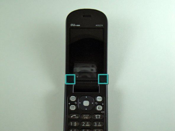 Pry, with a metal probe, the black covers that are located by the pivoting joints of the phone.