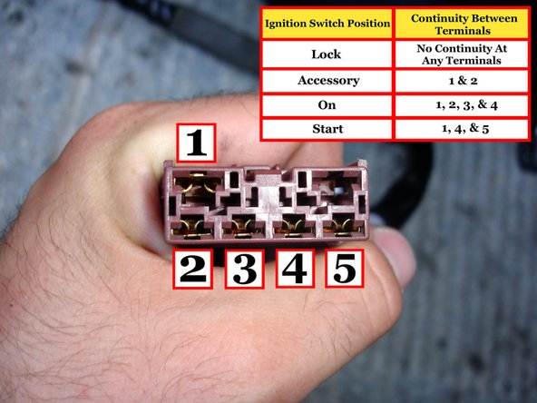 Users are reporting a variation of the ignition switch positions on the pictured diagram that corresponds to these numbers: