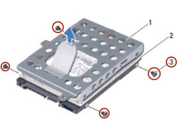 Remove the four screws that secure the hard-drive bracket to the hard drive.