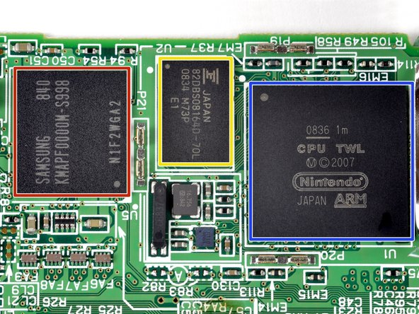Samsung 1st generation MoviNAND KMAPF0000M: 256 MB NAND Flash and MMC controller. The integrated MMC controller allows the CPU to offload the complex work of directly talking to the flash memory.