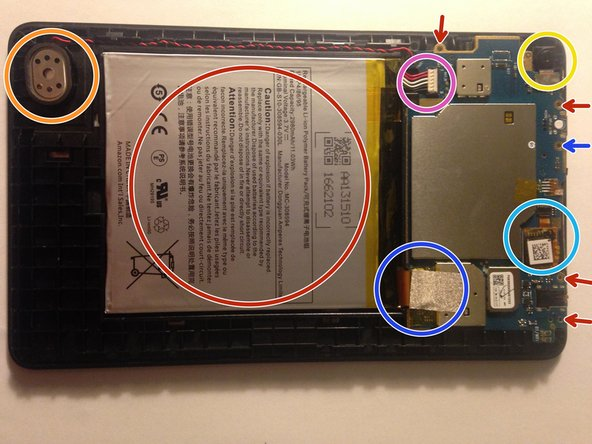 "The back cover should now come off leaving you with the insides of the Kindle Fire 7"" (2015) exposed. You can see the battery (red), the main pcb (at top), rear facing camera (yellow), speaker (orange),  and connection cables for the LCD panel (dark blue) and digitizer (light blue)."