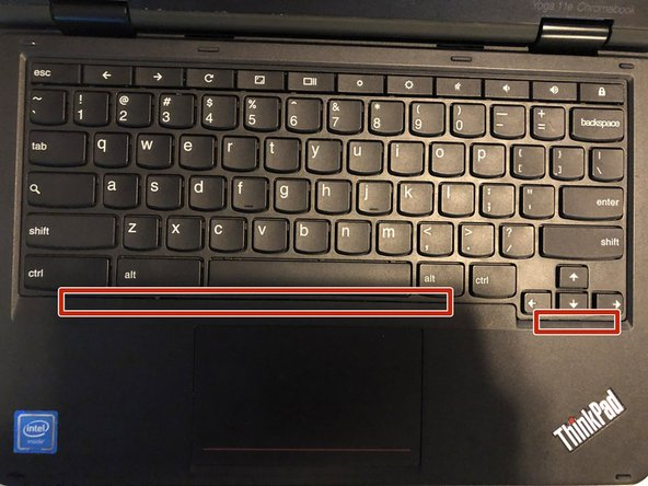 Next, flip the laptop over and open it up. The keyboard can be easily removed by pushing it back from the front. I suggest using a jimmy tool to slip into the tiny gap  to push it back.