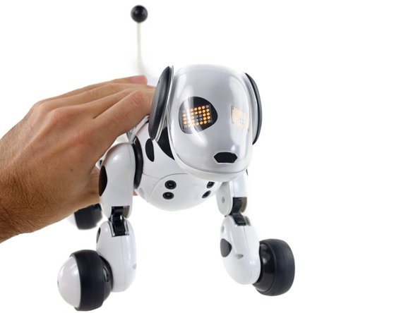 Zoomer the robot dog with a repaired USB port