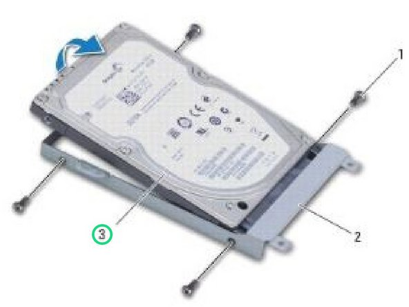 Place the NEW hard drive in the hard drive bracket and replace the four screws that secure the hard drive bracket to the hard drive.