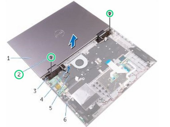 Remove the two screws (M2.5x7) that secure the display assembly to the palm rest and keyboard assembly.