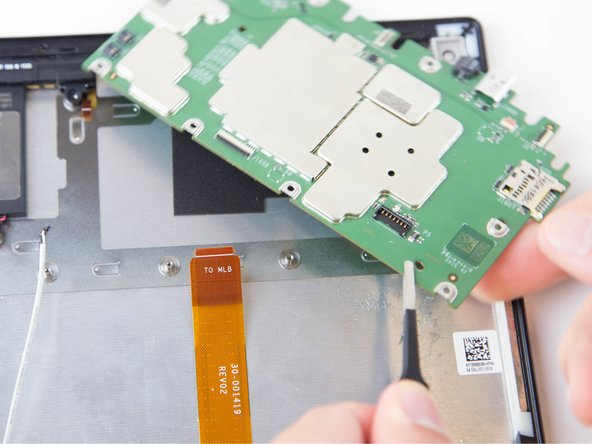 Lift and pull the motherboard down, gently, towards the case using the tweezers.
