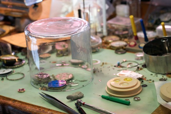 Tools at watchmaker workshop in San Luis Obispo