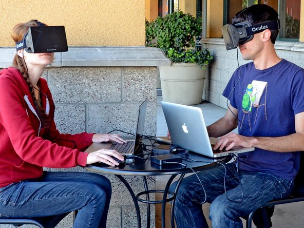 One of the most innovative technologies brought about by the Rift is its head tracking capability. Accomplished with a gyroscope, accelerometer, and magnetometer, the Rift allows for 3 degrees of freedom so you can look around the virtual world without having to move your entire virtual body.