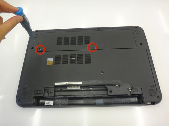 Loosen the two screws attaching the access door to the laptop body