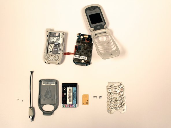 Exploded view of all phone components.