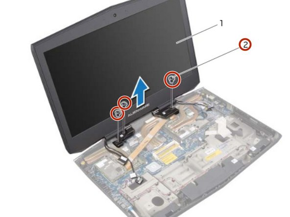 Remove the screws, on the display hinges, that secure the display assembly to the computer base.