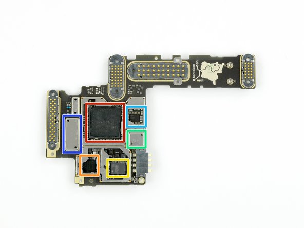 Image 1/1: Samsung [http://www.samsung.com/semiconductor/products/dram/mobile-dram/K3QF2F20EM-AGCF?ia=2394|K3QF2F20EM|new_window=true] 2 GB LPDDR3 RAM, layered on top of the Qualcomm [https://www.qualcomm.com/products/snapdragon/processors/801|Snapdragon 801|new_window=true] MSM8974AB