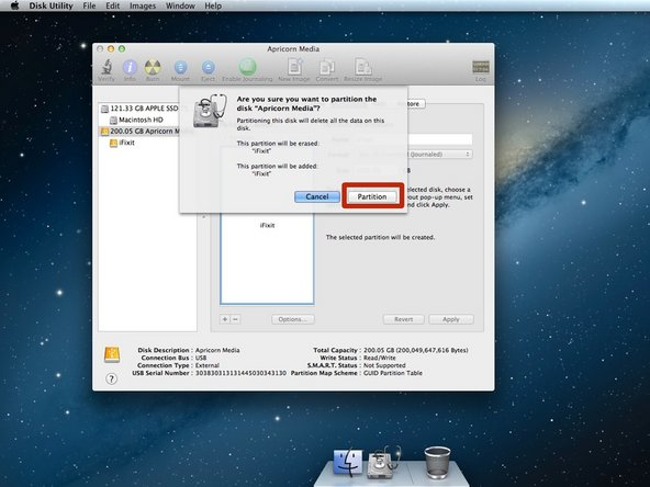 A warning window will pop up and ask if you wish to continue with the partition process.