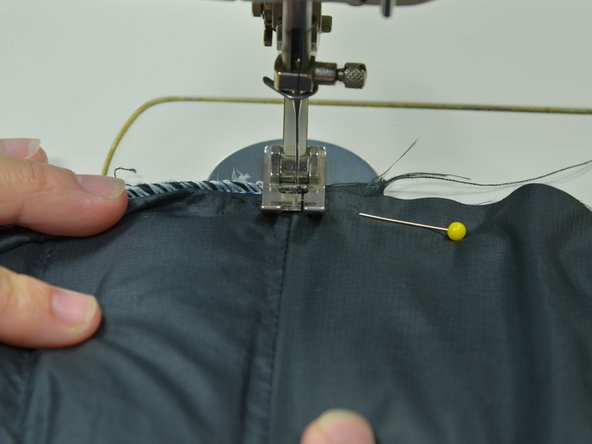Set the pinned piece into the sewing machine.