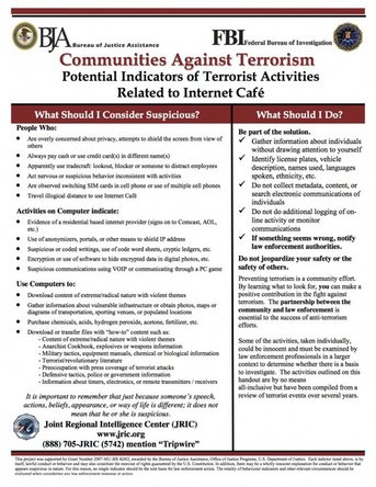 FBI flyer warning against suspicious terrorist activities