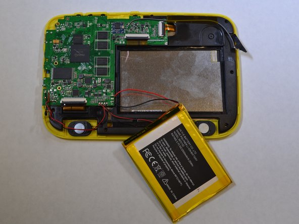 The battery is glued onto the black plastic. Use the plastic opening tool to pry the battery from the black plastic.