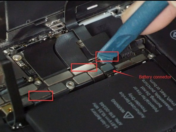 Release the battery/LCD screen/digitizer/ear speaker connectors with a spudger.