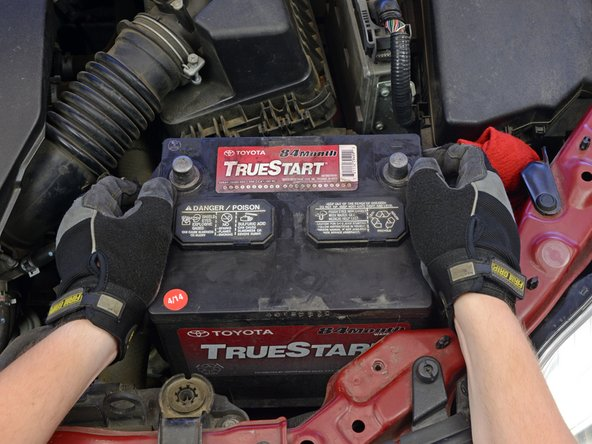 A typical car battery can weigh 50 pounds or more, so lift carefully and get help if needed. Do not drop the battery, as this can release dangerous chemicals.