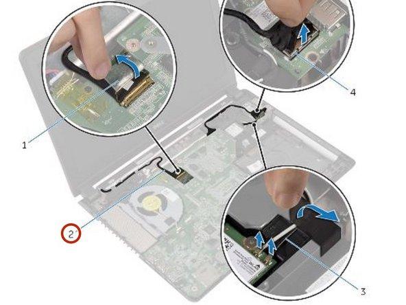 Tenga en cuenta el enrutamiento del cable de la pantalla y retire el cable de su guía de enrutamiento.