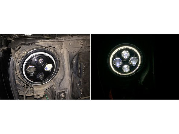 Once your Jeep Wrangler headlights work, put the metal ring and the screws back. Once everything is secure, reinstall the front grille.