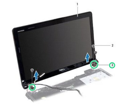 Use the alignment posts to place the display assembly on the computer base.