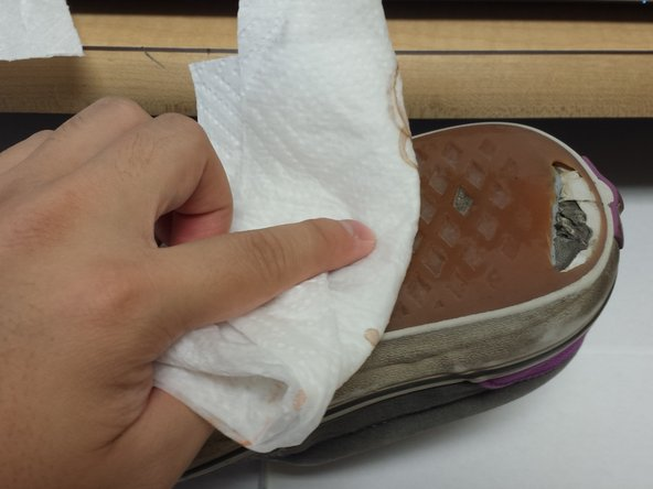Clean the outsole with a wet paper towel.