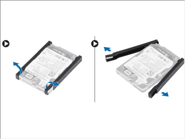 Flex the hard-drive isolation. Peel off the hard-drive isolation from the hard drive.