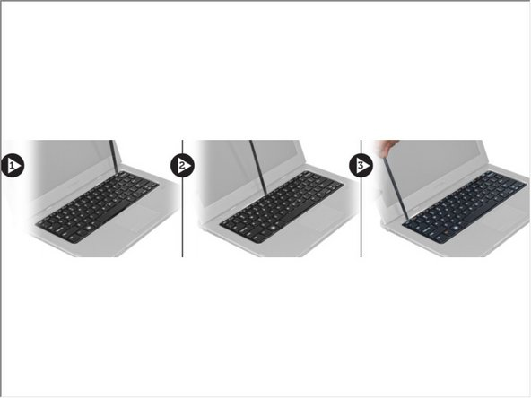 Starting on the right side of the system, use a plastic scribe to pry up the keyboard from the computer.