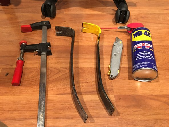 You will need something to pry the two wheels apart. I've found that using two pry bars work best but you might be able to accomplish the same thing using (2) large screwdrivers with an object between them as a fulcrum.