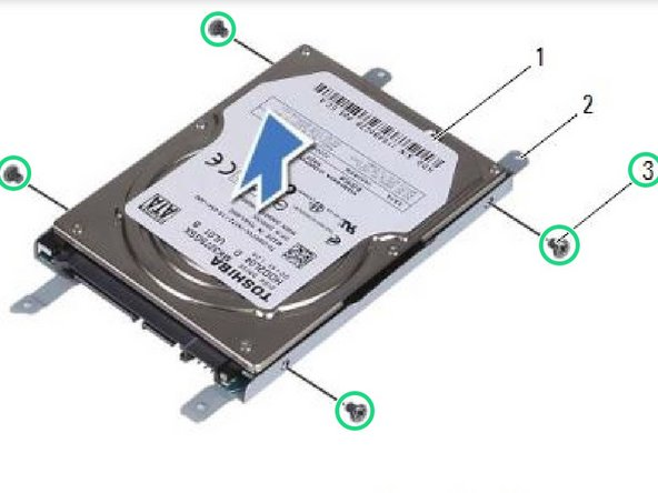Replace the four screws that secure the hard-drive bracket to the hard drive.