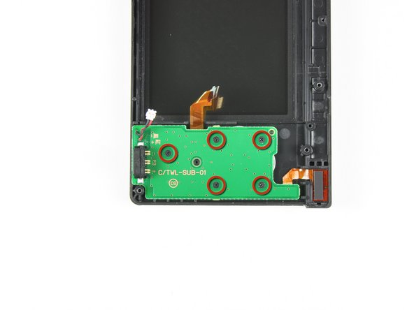 Image 1/2: Remove the five Phillips screws securing the power board to the DSi's framework.