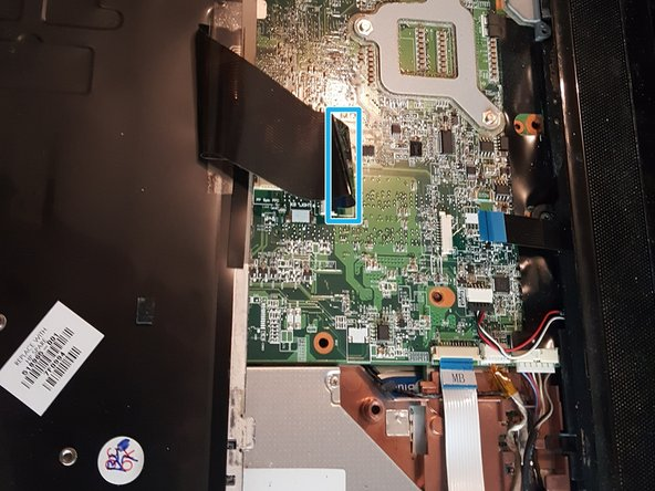 Image 2/2: There are 3 final screws (in red) holding the keyboard to the laptop. Undo those and you can slide the keyboard out. However, it is still attached to a ribbon cable (in blue).